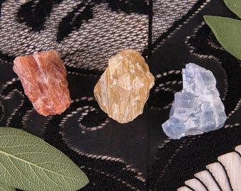 Calcite Set | 3 Stones | Rough Calcite | Mixed Calcite | Calcite Trio