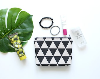 Zipper pouch, Small clutch, Cosmetic bag, Geometry design, Triangles print, School supplies