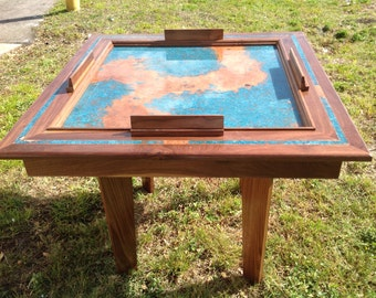 Solid Walnut Domino Table With Azul Copper Patina