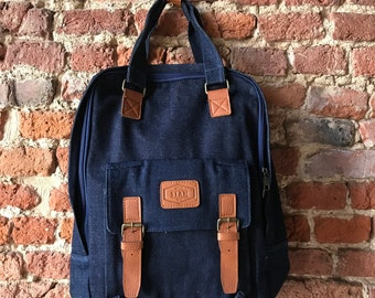 Navy canvas backpack