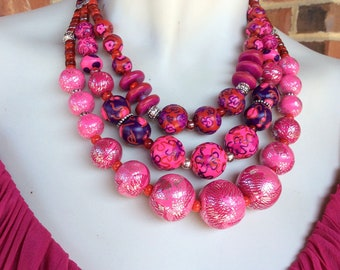 Fuchsia Statement Necklace/ Pinks in Bloom