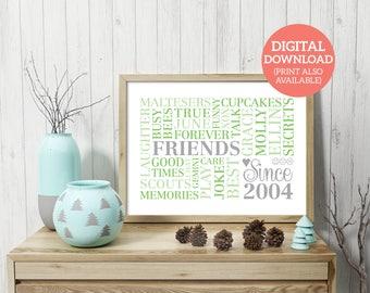 Best Friend Word Cloud, Word Art, Personalised, Word Cloud, Friendship Gift, DOWNLOAD, Poster, Personalised, Unique gift, Best Friend, FR006