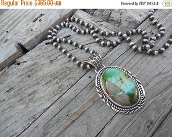 ON SALE Turquoise necklace handmade in sterling silver with a large and beautiful natural Royston turquoise stone