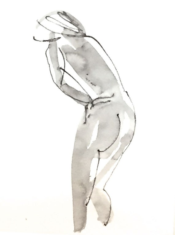 Nude painting of One minute pose 114.9 nude art, original, gesture sketch by Gretchen Kelly