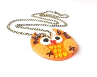 Orange Owl Necklace ( owl pendant owl jewelry halloween necklace bird necklace owl charm polymer clay owl owl charm necklace cute owl )