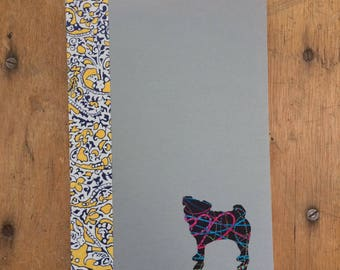Pug Doggy Tales Notebook in Liberty London Art Fabric