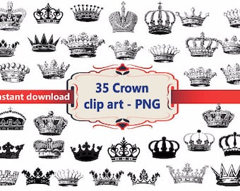INSTANT DL- 35x Crown  Clipart - printable Digital Clipart Graphic Instant Download