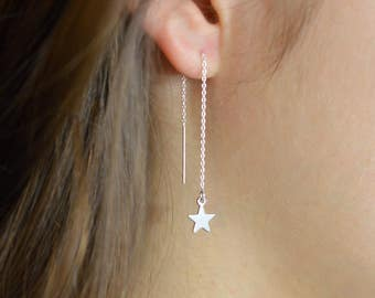 Star Threaders, Threader Earrings, Star threaders, Pull-through earring, Ear thread dangles, Metallic Star Dangles,  Chain thread earring