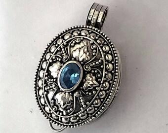 Blue Zircon December Birthstone Oval Bali Sterling Silver Locket Pendant Keepsake Chain Necklace PL13