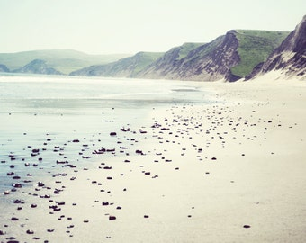 "Beach wall art, ocean print, California coast wall art, neutral beige living room art, Marin County nature photography  ""Pebbly Beach"""