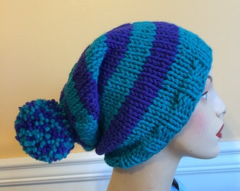 Pom Pom Hat - Turquoise Hat - Knit Hat - Wool Hat with PomPom - Handknit - Striped Wool Hat- Size Large - Slouch Hat