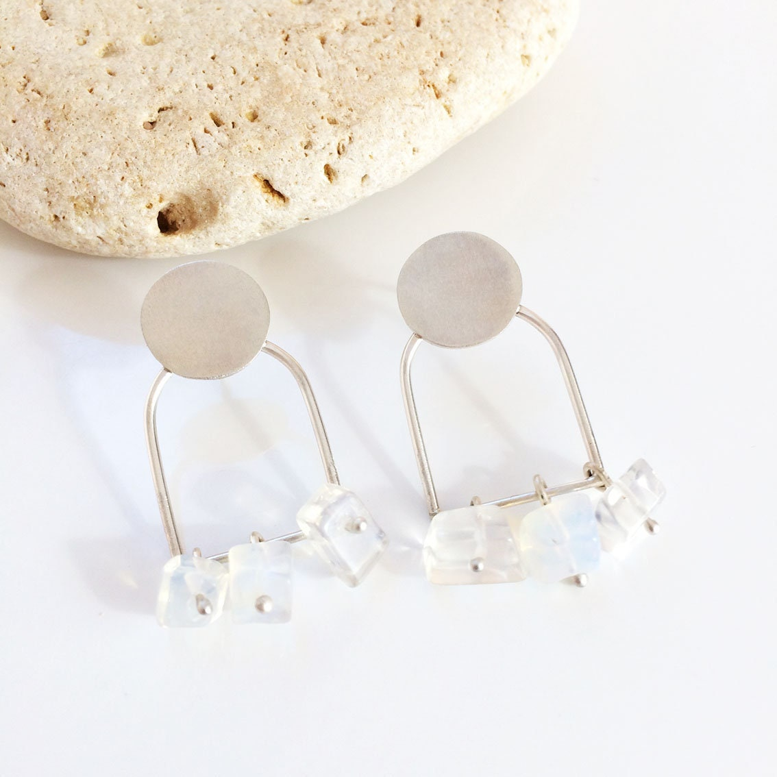 Famous Geometric silver earrings with moonstones - stud dangle and drop  DM07