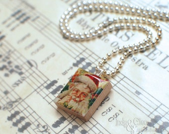 Santa Claus Scrabble Necklace, Handmade Scrabble Tile Art Pendant, Old St. Nick, St. Nicholas, Wood Pendant, Merry Christmas, Vintage Look