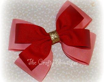 Elena Hair Bow, Large Princess Bow, Pink Princess Bow, Princess Elena Bow, Pink & Red Bow, Layered Bow, Pink Hair Bow, Princess Hair Bow