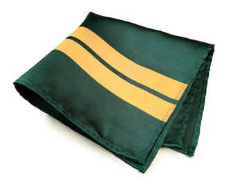 British Racing Green pocket square: Yellow racing stripes on green. Race car livery enthusiast men's handkerchief.