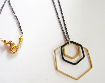 Black Geometric Necklace, Black Hexagon, Gold Hex Pendant, Modern, Long Necklace, Redpeonycreations