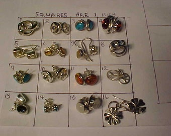 Sterling Silver/Stones Stud/Shepards hook earrings-Hallmarked-Older but new-Ship in Canada or the continental USA-all same price choose
