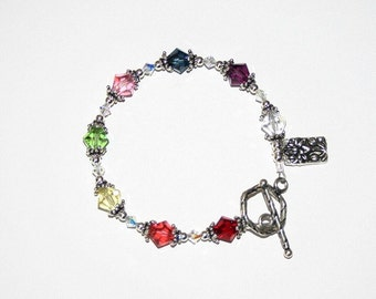 Chakra Bracelet with Swarovski crystals with sterling silver findings