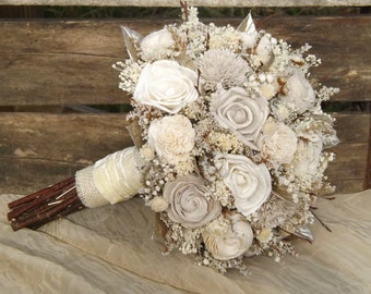 Rustic Woodland Twig and Sola Flower Bride Bouquet with Champagne Accents Made to Order