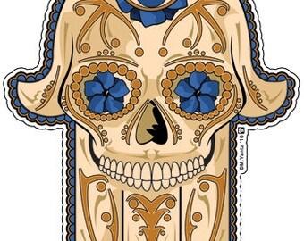 """Hamsa Sugar Skull 4"""" Vinyl Sticker"""