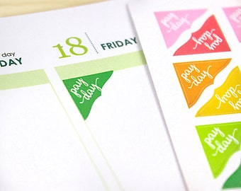 Pay Day Corner Planner Stickers, 70 colorful reminder stickers, 2019 EC colors, Happy Planner, Plum Paper, green neutral or assorted colors