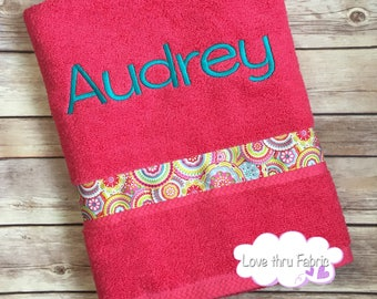 Monogrammed Bath Towel, Personalized Towel, Personalized Swim Towel, Personalized Bath Towel, Monogrammed Towel, Towel with Ribbon and Name