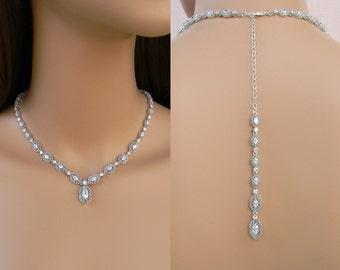 Backdrop Bridal Necklace,  Bridal Earrings, Wedding Jewelry, Bridal Jewelry SET,  Adilene Full Crystal Necklace