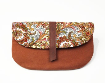 Wool Clutch, Easter Gift for Her, Clutch Bag, Purse, Handbag, Floral Print Clutch, Gift for Her, Evening Clutch