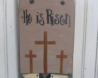 Primitive He Is Risen Cross and Sheep Hand Painted Wooden Sign GCC6156