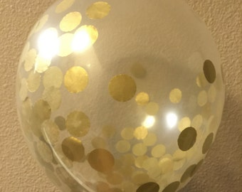 3 Gold Confetti Balloons, Metallic Gold Confetti Filled Balloons, Birthday Balloons. Wedding Balloons Decorations [Q01]