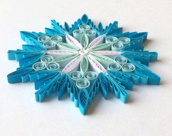 Quilled Snowflakes Paper Quilling Art Christmas Tree Decor Winter Hanging Ornaments Gifts Toppers Filler Mandala Office Corporate Blue White