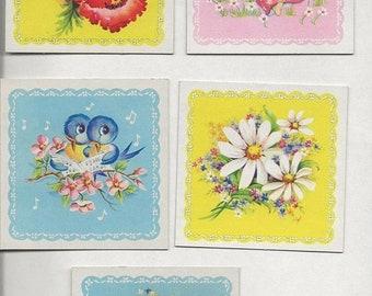 ON SALE Vintage 50s Cutie Coasters Paper emphera Scrapbooking Junk Journel Collage Flowers, Birds, Angel