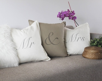 Mr and Mrs cushions, handprinted. Unique wedding gift, wedding decor, Valentines gift, anniversary gift or birthday gift ...
