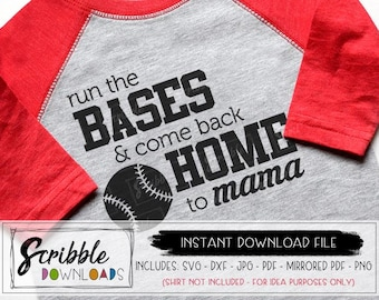 BASEBALL SVG - baseball mom DXF fan Iron On svg Instant cut file shirt home run Baseball Mom svg come back home to Mama Baseball Mama svg