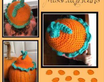 Toddler Crochet Pumpkin Hat, Photo Prop, Thanksgiving Holiday