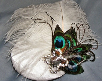 White Ostrich and Peacock Feather Fascinator