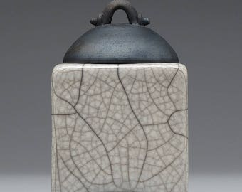 Ceramic box, white crackle, raku fired art pottery, keepsake box, handmade
