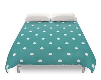 Polka Dots Duvet Cover, 5 Color, Twin Duvet, Full Duvet, Queen Duvet, King Duvet, Modern Bedding, Dots Pattern, Turquoise, Green, Purple