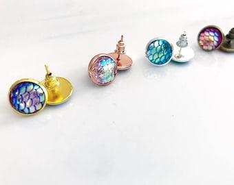 Mermaid scale earring studs