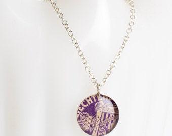 Medium necklace | Postage stamp | Liechtenstein | Purple