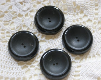 "4 Black Chunky Vintage 1 1/8"" Buttons 2 hole sew through #51"