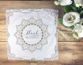 Thank you Maid of Honor handkerchief wedding gift, wedding maid of honor handkerchief, wedding handkerchief, maid of honor gift hankie