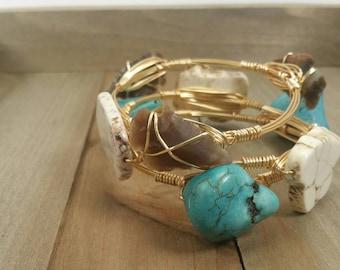 Cowgirl bangle bracelets, Western bracelet set, Turquoise bracelet, arrowhead bracelet and white howlite bracelet set of 3 cowgirl bracelets