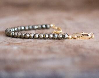 Pyrite Bracelet, Beaded Bracelet, Gift for Her, Girlfriend Gift, Gemstone Bracelet, Bohemian, Gold Bracelet, Dainty Bracelet, Pyrite Jewelry