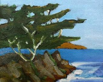 Miniature Lone Cypress Carmel Monterey Bay Painting 4x4 Plein Air Landscape Pacific Ocean California Lynne French O/C
