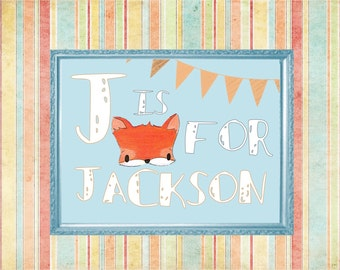 Fox Baby Name - Personalized Wall Art - Instant Digital Download