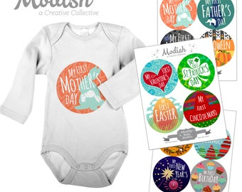 FREE GIFT, First Mother's Day Baby Stickers, First Holiday Stickers, Holiday Baby Stickers, Holiday Baby Belly Stickers, Mother's Day