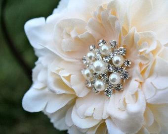 Wedding Hair Accessory - Wedding Hair Flower -  Small Peony Flower