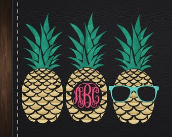 Pineapple bundle Pineapple Monogram SVG, Monogram Frames SvgPineapple Frames Svg Font Cut files, SVG Fonts, Decal Svg files for Cricut PNG