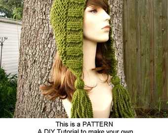 Instant Download Knitting Pattern - Womens Hood Pattern - Knit Hat Pattern Tassel Hood Pattern - Womens Accessories